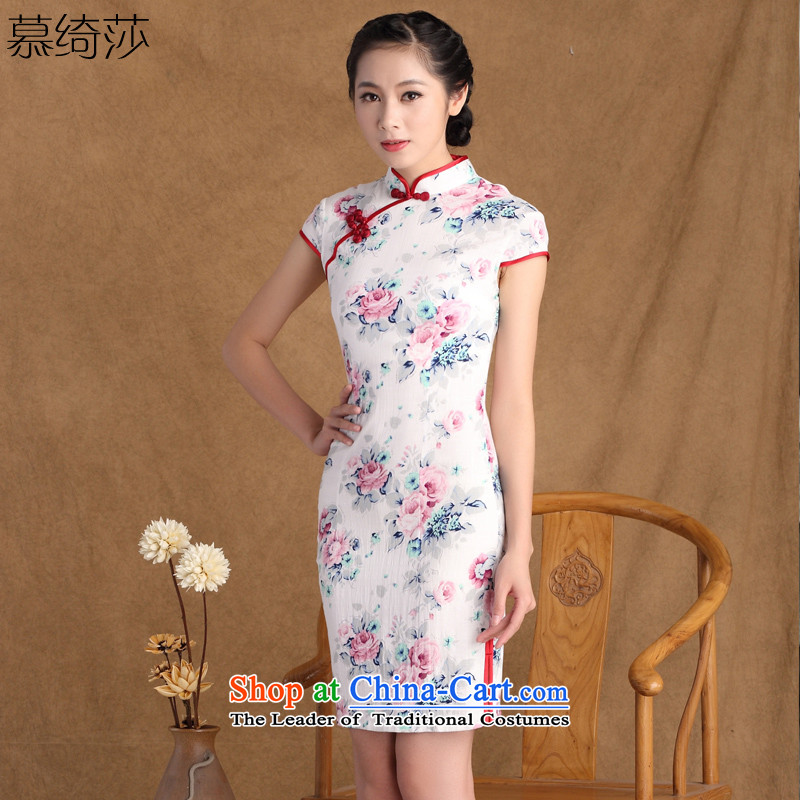 The cross-sa zipping by Arabic spring and summer new stylish linen cheongsam dress Chinese improved dresses retro short of cotton linen dresses summer聽SZ M815聽White聽XL