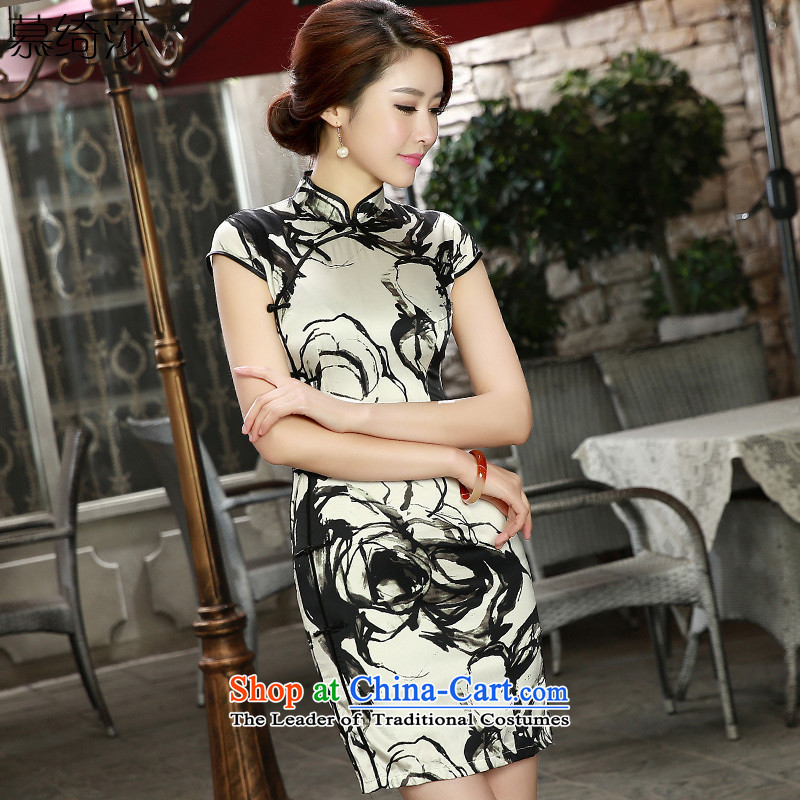The cheer NONEN Sharolta following short of the spring and summer聽2015 new retro herbs extract double qipao heavyweight Silk Cheongsam聽SZ S8808 Sau San聽white聽S