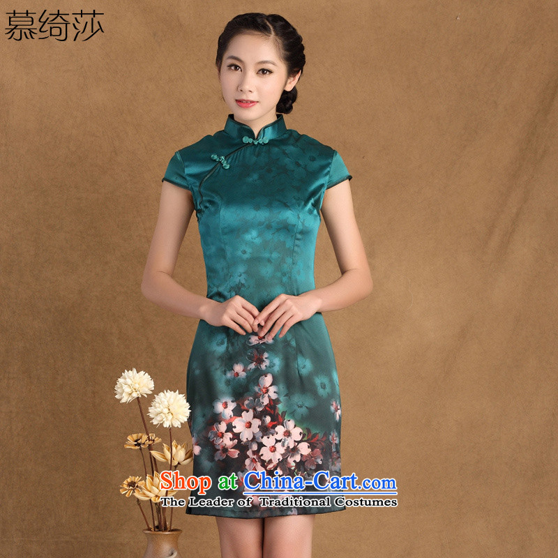 The cross-sa maumeur summer new heavyweight silk cheongsam dress retro daily silk cheongsam dress improved dress聽SZ S9914聽GREEN聽XL