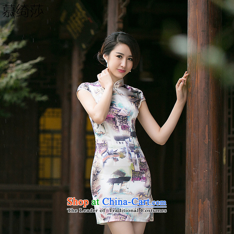 The cross-sa�15 covered by Ms Audrey EU new summer retro improved daily qipao Short-Sleeve Mock-Neck cheongsam dress dresses digital printing燴A 057 XL
