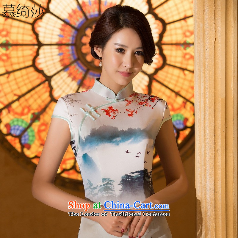 The cross-SA-cloud?2015 Summer new ink stamp retro style qipao skirt daily improved cheongsam dress female?ZA 062 M