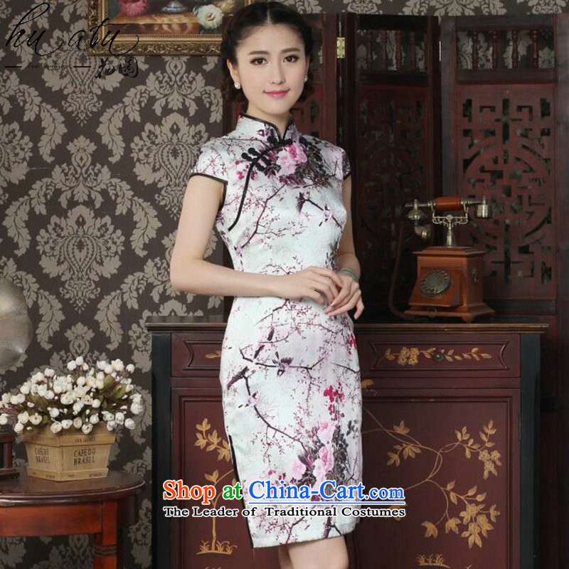 Floral silk cheongsam dress summer Chinese improved Mock-neck herbs extract the bad disk deduction qipao magpies cheongsam dress Figure Color燲L