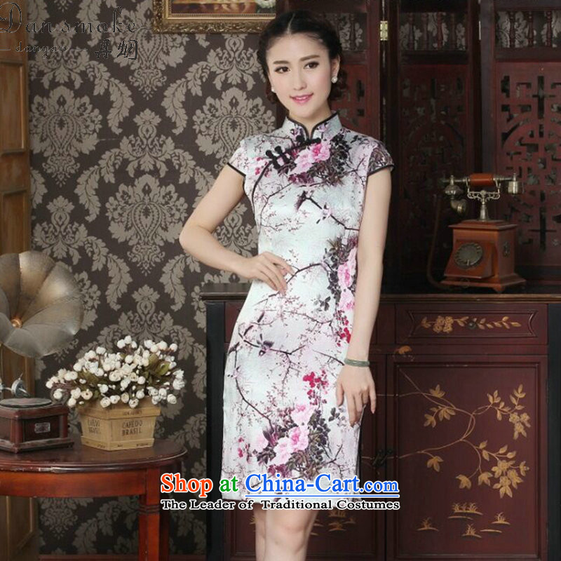 Dan smoke silk cheongsam dress summer Chinese improved Mock-neck herbs extract the bad disk deduction qipao magpies cheongsam dress Figure聽2XL color