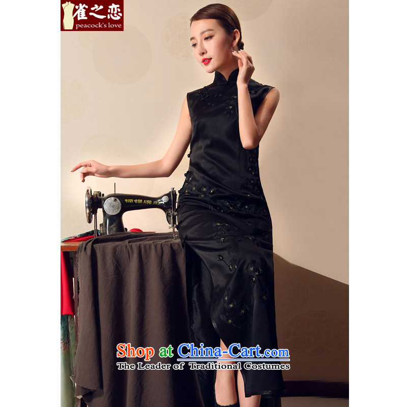 Love of birds ink Mui?Summer 2015 new traditional full heavyweight silk embroidery cheongsam dress black - 15 days pre-sale?XL