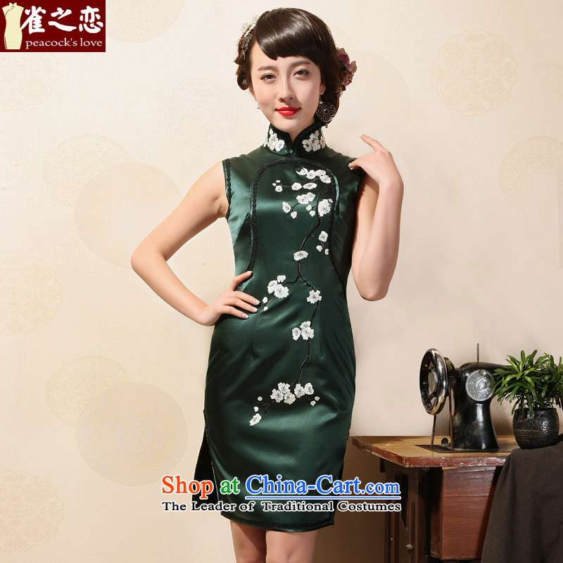 Love of birds?2015 Summer new collar embroidery cheongsam manually push embroidered heavyweight silk short sleeveless cheongsam dress emerald-?M