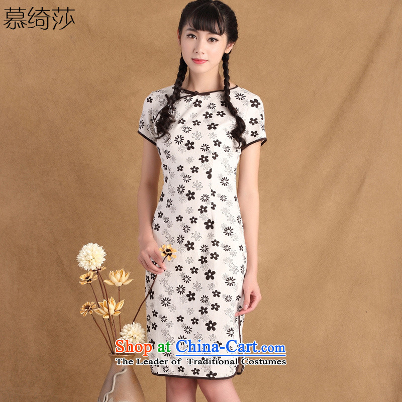 The cross-sa language爊ew summer 2015 cotton linen-to-day round-neck collar of the Republic of Korea, improved qipao cheongsam dress women retro燙TBS HD213 M