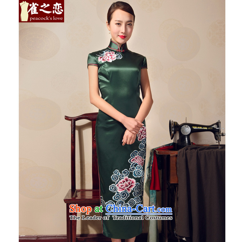 Love of birds�15 Summer New elegant Chinese Antique long qipao heavyweight silk embroidery cheongsam QD698 dark green - 15 days pre-sale燤