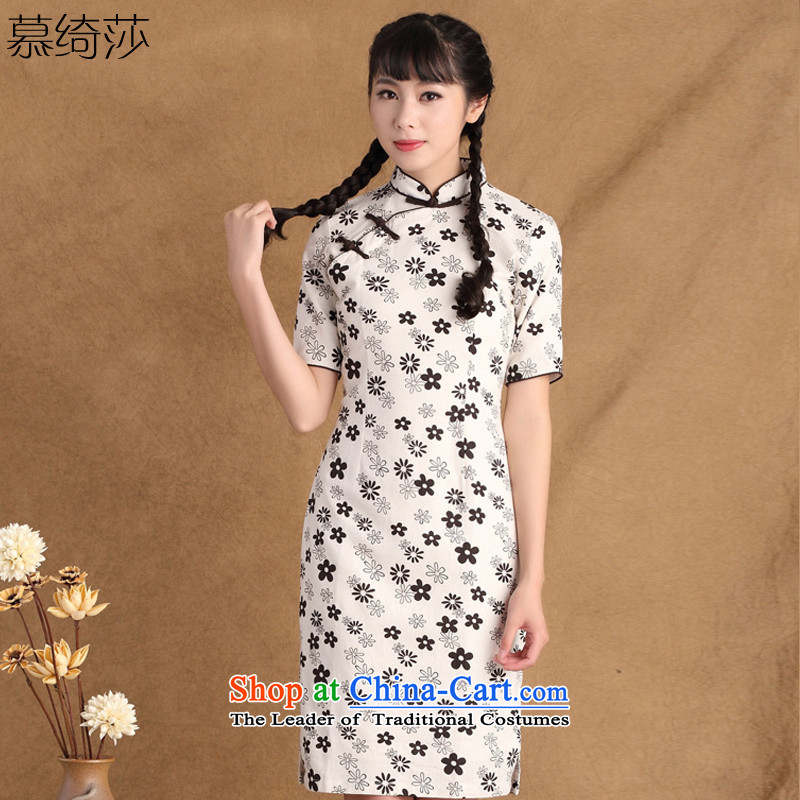 The cross-sa-NT 2.7 New retro arts wind cotton linen daily improved national wind linen qipao cheongsam dress ctbs JZ396 XL