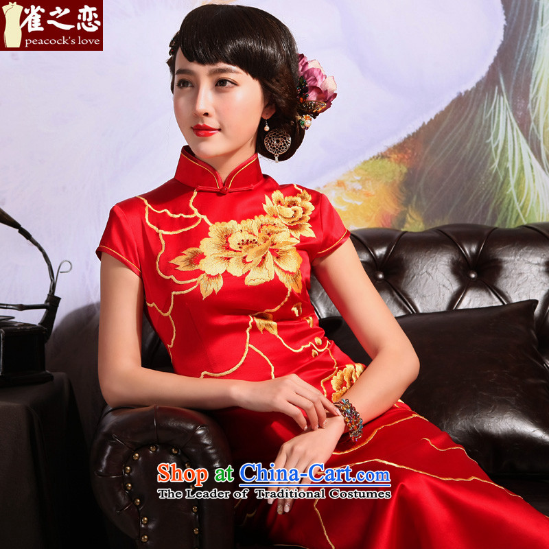 Love of birds?2015 Summer New Chinese Antique embroidery long marriages bows services red cheongsam red?XL