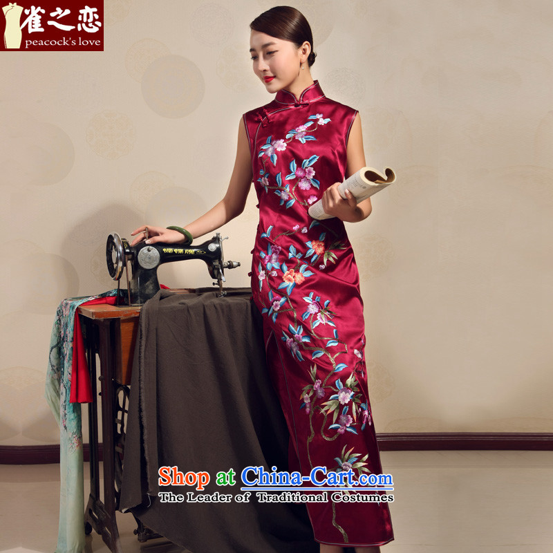 Love of birds 2015 Summer new handicraft embroidery improved stylish heavyweight Silk Cheongsam long red?S