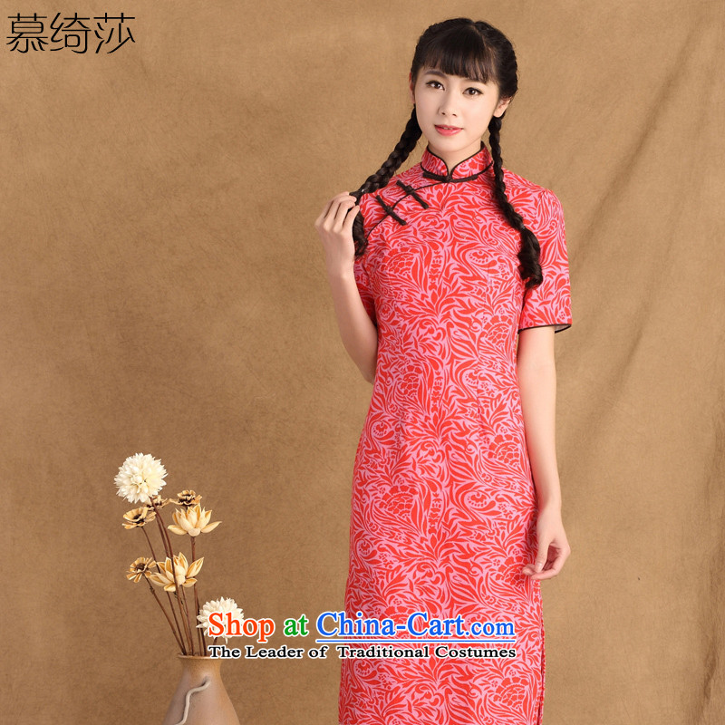 The cross-sa from the Greek New cotton linen ethnic daily improved cheongsam dress stylish summer in the skirt of qipao ctbs QP247 red L