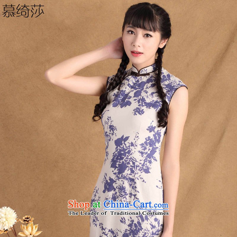 The cross-sa 2015 summer the extreme Sleeveless Men's Mock-Neck retro ethnic stylish cotton linen in long skirt ctbs QP783 qipao S