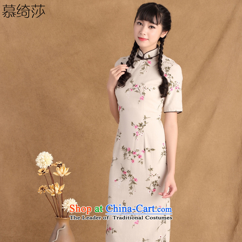 The cross-sa�2015 Spring New ethnic retro style qipao improved disk is longer manually, cotton linen cheongsam dress�ctbs sz790 L