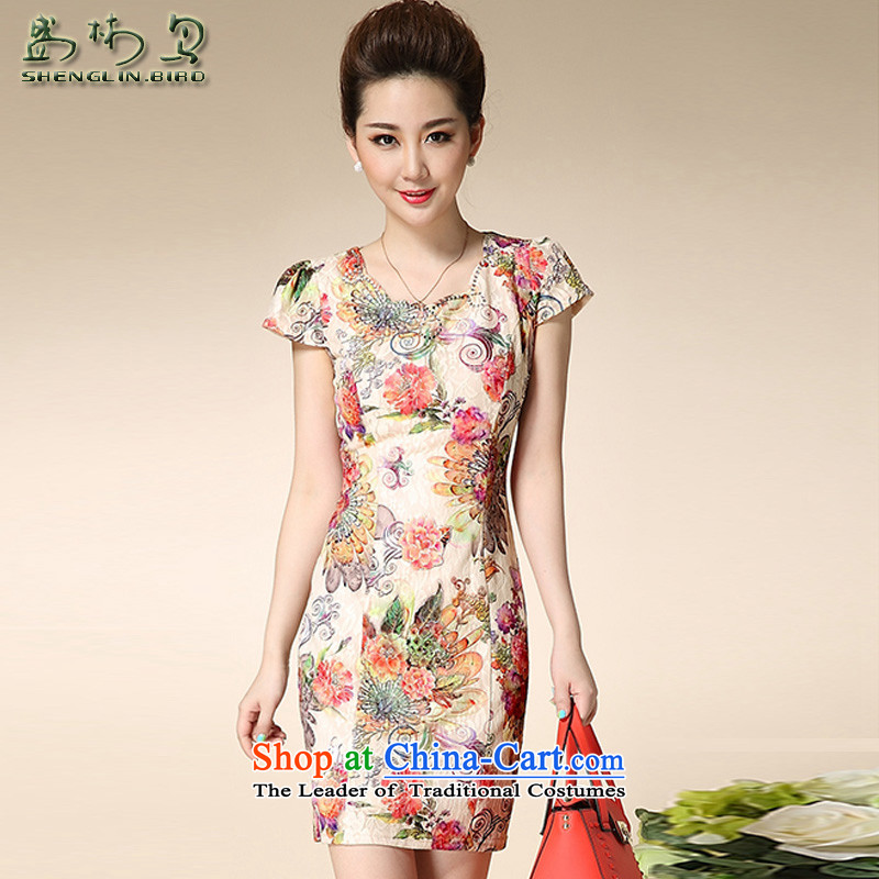 Summer new dresses female pope stamp retro style improvement elegant lace cheongsam dress Sau San female package mail all backplane rose燣