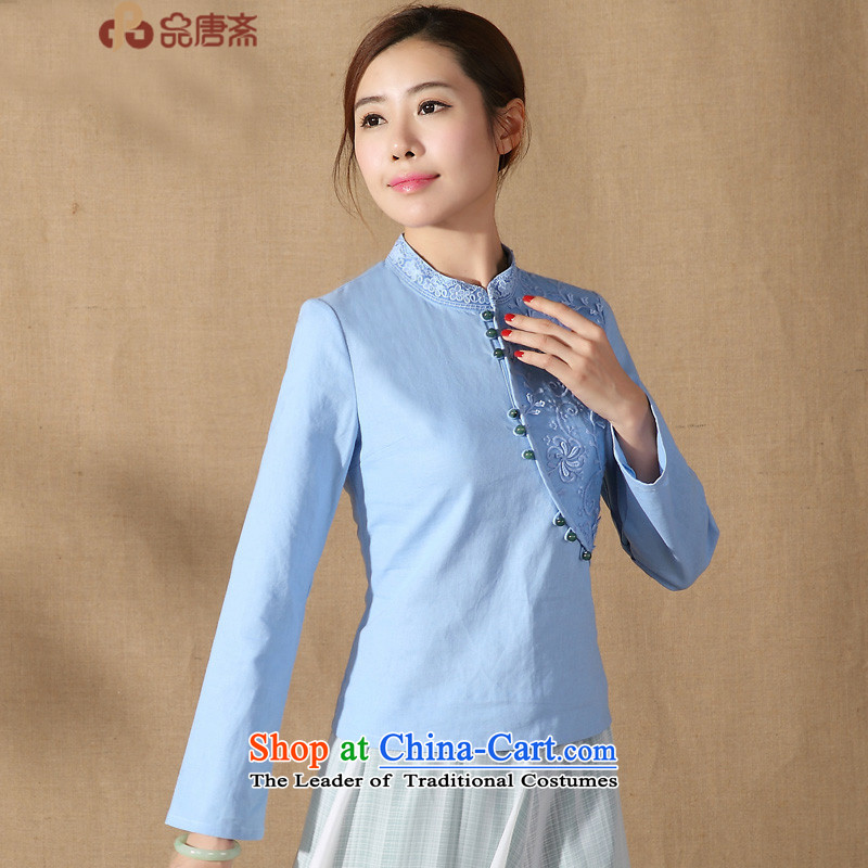 Ms. Tang Dynasty Han-improved long-sleeved disc spring 2015 detained new stylish Chinese women's Mock-Neck Shirt cheongsam Blue?M