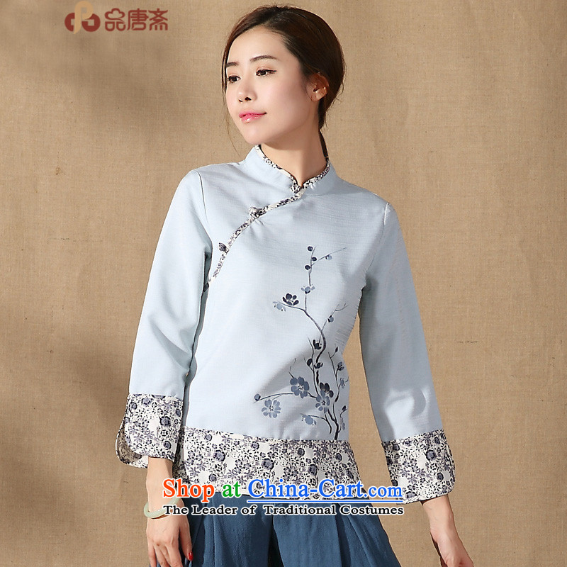 No. of Ramadan 2015 spring outfits Tang New Ms. Tang Dynasty Chinese clothing collar long-sleeved shirt qipao improved Han-light blue燤
