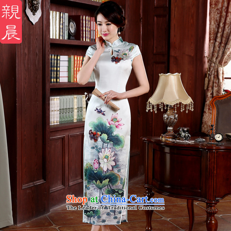 At 2015 new parent in summer and autumn replacing cheongsam dress dresses Ms. daily long thin improved retro Lotus Graphics Yuanyang?2XL