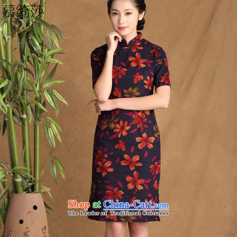 The cross-sha zi?2015 spring_summer rain replacing new stylish retro improved daily qipao cotton linen arts cheongsam dress ctbs QK647 XL