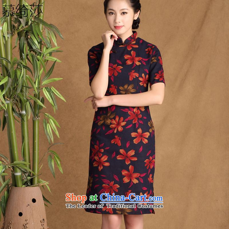 The cross-sha zi�2015 spring/summer rain replacing new stylish retro improved daily qipao cotton linen arts cheongsam dress ctbs QK647 XL