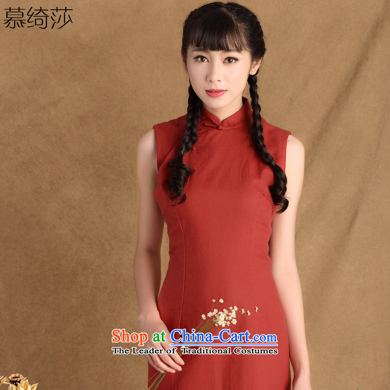 The cross-sa in short爏pring 2015 has new women's day-to-day Republic of Korea cheongsam dress improved dresses sleeveless cotton linen dresses燾tbs QP786燤orris燲L