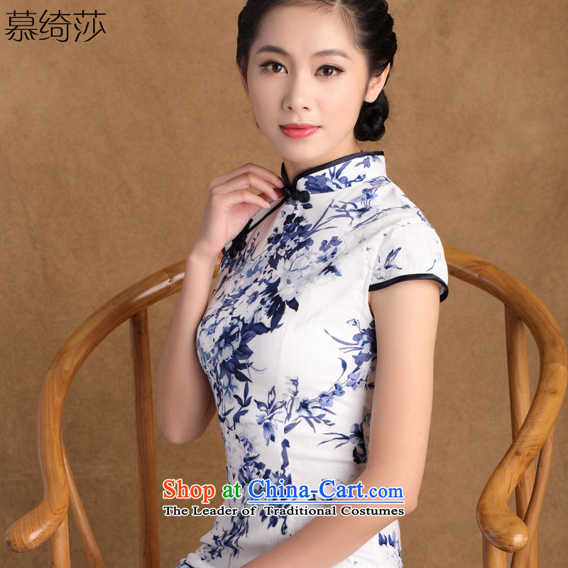The cheer her from El new summer new stretch cotton linen daily routine improvement qipao improved short porcelain cheongsam dress?SZ M815 PUERTORRICANS size is too small.)