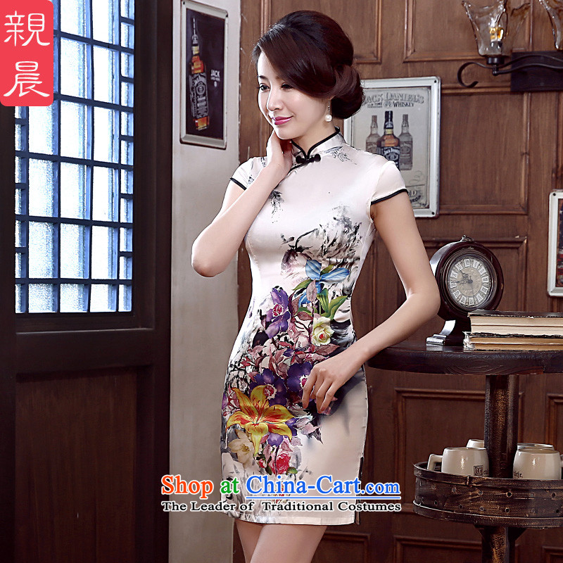 At 2015 new pro-Silk Cheongsam Dress Short of female daily herbs extract summer cheongsam dress short of stylish�L improvement