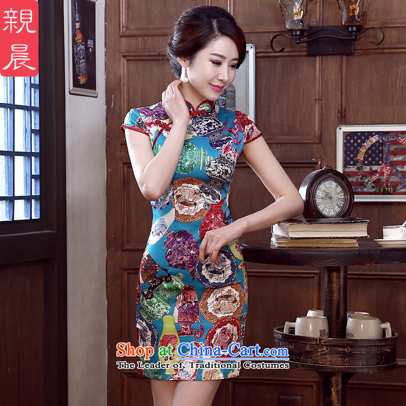At 2015 new parent dulls daily improvement and the relatively short time, short-sleeved upscale herbs extract silk cheongsam dress short,?2XL