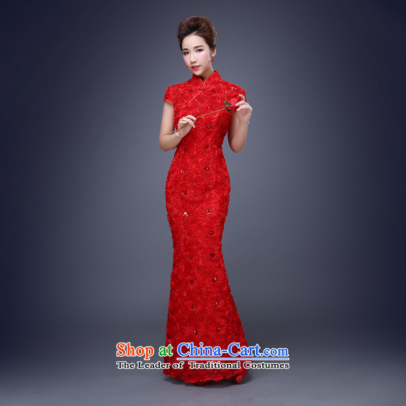 Jie mija bows to married women Red Dress 2015 new spring and summer short-sleeved qipao Long Short Sau San, red long?L