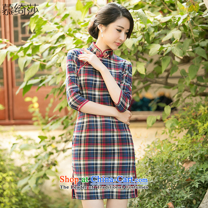 The cross-sa Monogatari�15 Ms. new cheongsam summer in a compartment of the Republic of Korea and Stylish retro daily cuff improved cheongsam dress tri-color爎ed checkered ZA 102燲L