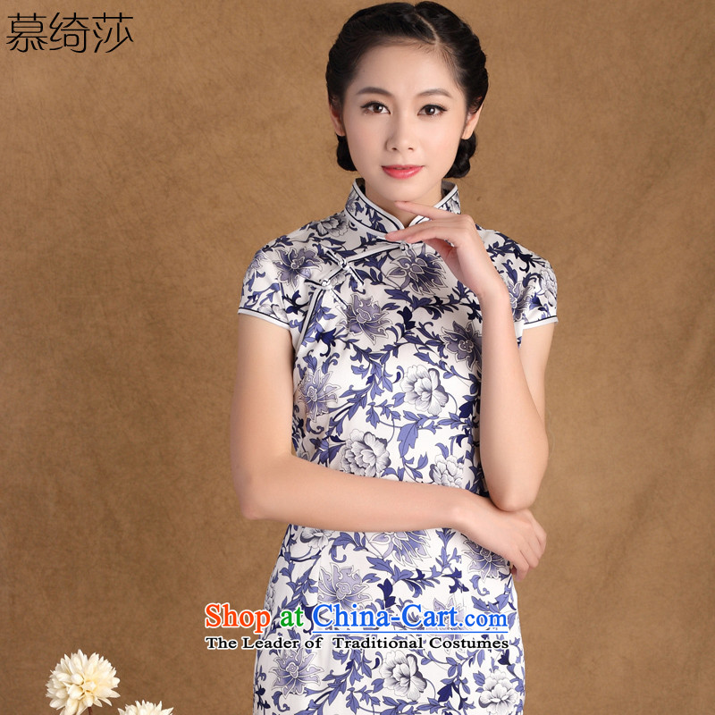 The cheer her blue China wind new stylish retro heavyweight silk cheongsam dress porcelain daily improved cheongsam dress HZ s001 M