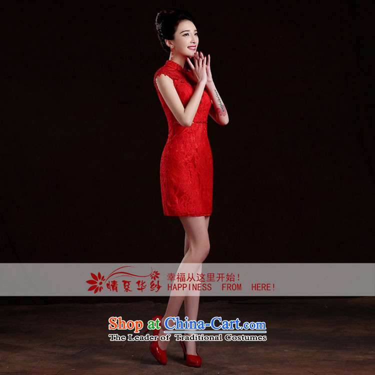 Qing Hua yarn bride wedding dress bows services spring and summer skirts qipao new 2015 red lace Sau San retro style improvement red聽, prices, picture L brand platters! The elections are supplied in the national character of distribution, so action, buy now enjoy more preferential! As soon as possible.
