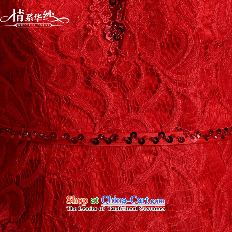 Qing Hua yarn bride wedding dress bows services spring and summer skirts qipao new 2015 red lace Sau San retro style improvement red聽, L, the feelings of Chinese yarn , , , shopping on the Internet