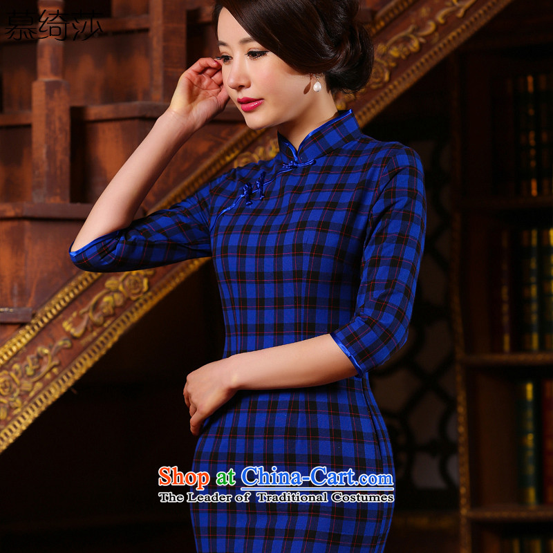 The cross-SA-ju�in the heart of the new 2015/Grid retro style qipao daily improved dresses Sau San female�ZA 316�blue patterned�2XL