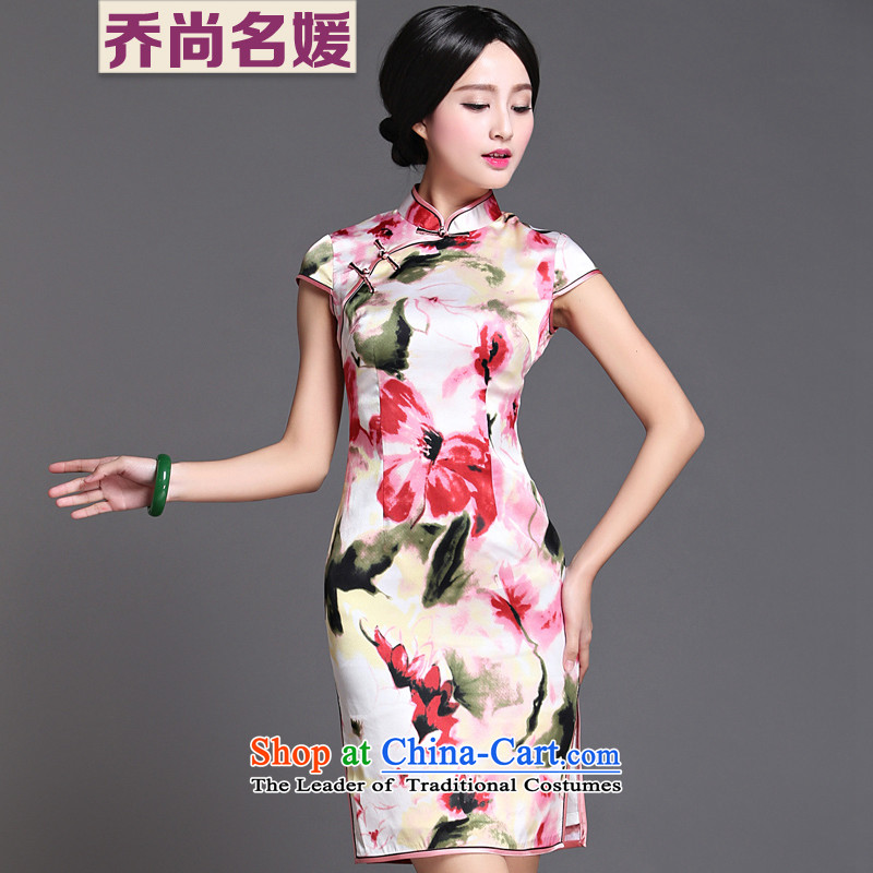 Joe was aristocratic upscale heavyweight Silk Cheongsam summer gathering improved dresses ZS010 White聽XL