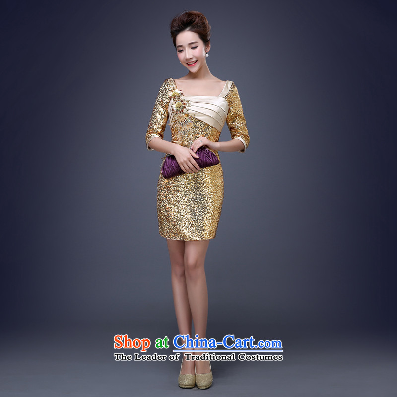 Jie mija new 2015 Korean sexy package and on-chip gold short skirt dress evening dresses annual meeting presided over night show gold M