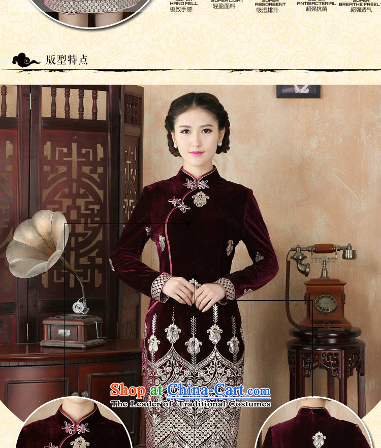 Dan smoke during the spring and autumn female qipao Tang Dynasty Chinese improved collar scouring pads in long retro Kim long-sleeved cheongsam dress as Sau San map color聽2XL Photo, prices, brand platters! The elections are supplied in the national character of distribution, so action, buy now enjoy more preferential! As soon as possible.