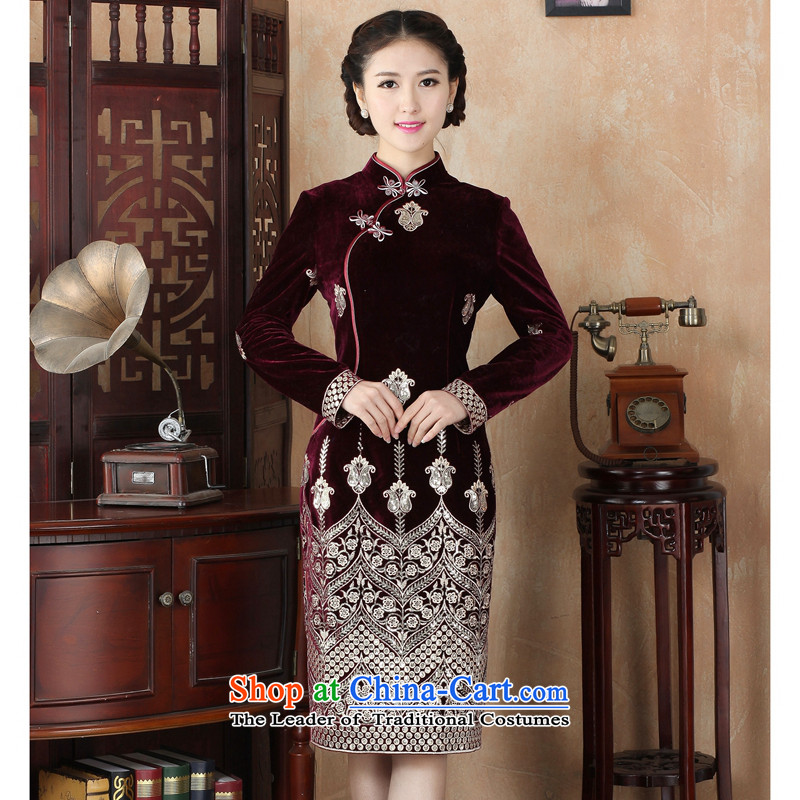 Dan smoke during the spring and autumn female qipao Tang Dynasty Chinese improved collar scouring pads in long retro Kim long-sleeved cheongsam dress as Sau San map color�L