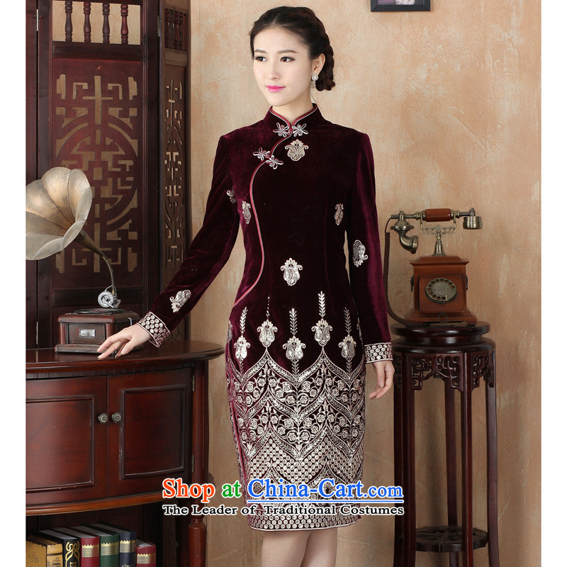 Dan smoke during the spring and autumn female qipao Tang Dynasty Chinese improved collar scouring pads in long retro Kim long-sleeved cheongsam dress as Sau San map color聽2XL, Dan Smoke , , , shopping on the Internet