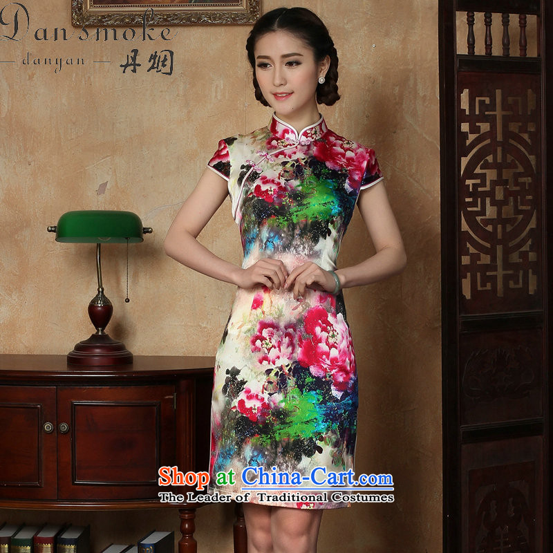 Dan smoke female qipao summer new Tang dynasty silk collar poster short qipao Chinese herbs extract improved short qipao figure�L color
