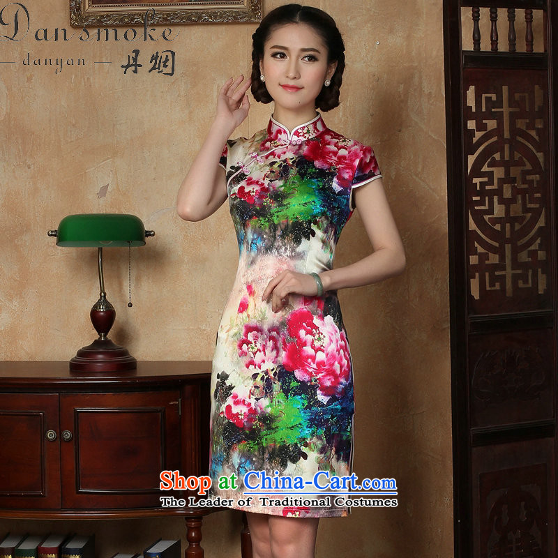 Dan smoke female qipao summer new Tang dynasty silk collar poster short qipao Chinese herbs extract improved short qipao figure聽3XL, color Dan Smoke , , , shopping on the Internet