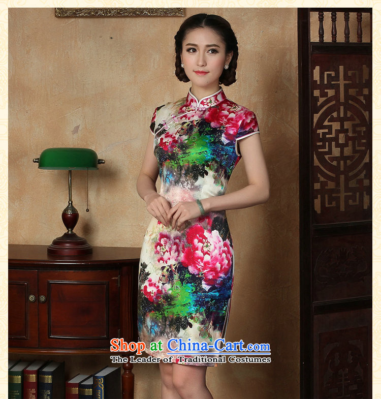 Floral female qipao summer new Tang dynasty silk collar poster short qipao Chinese herbs extract improved short qipao聽3XL color image as shown in figure, prices, brand platters! The elections are supplied in the national character of distribution, so action, buy now enjoy more preferential! As soon as possible.