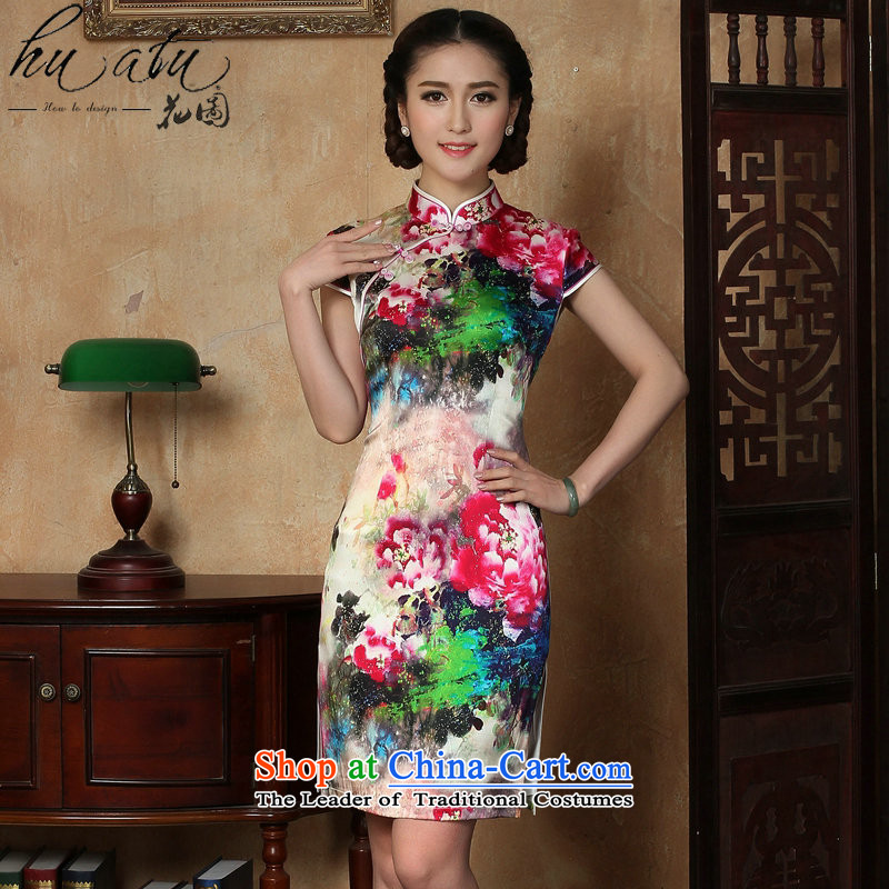 Floral female qipao summer new Tang dynasty silk collar poster short qipao Chinese herbs extract improved short qipao figure 3XL color