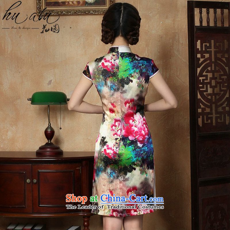Floral female qipao summer new Tang dynasty silk collar poster short qipao Chinese herbs extract improved short qipao figure color聽mosaic.... 3XL, shopping on the Internet