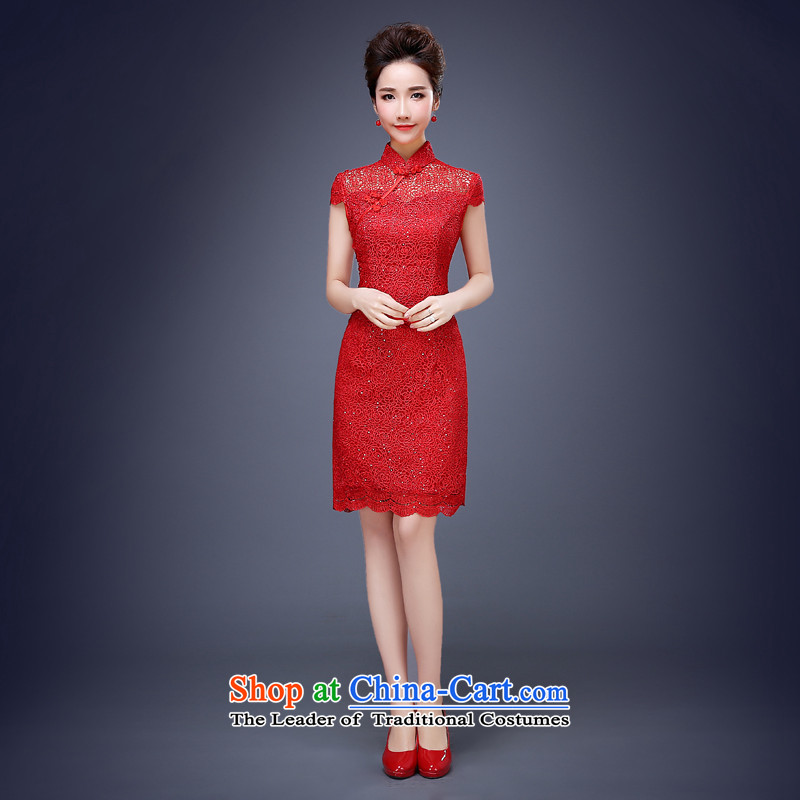 Jie mija red lace long crowsfoot retro Chinese qipao bride wedding dress bows services of the Spring Festival Evening RED燤