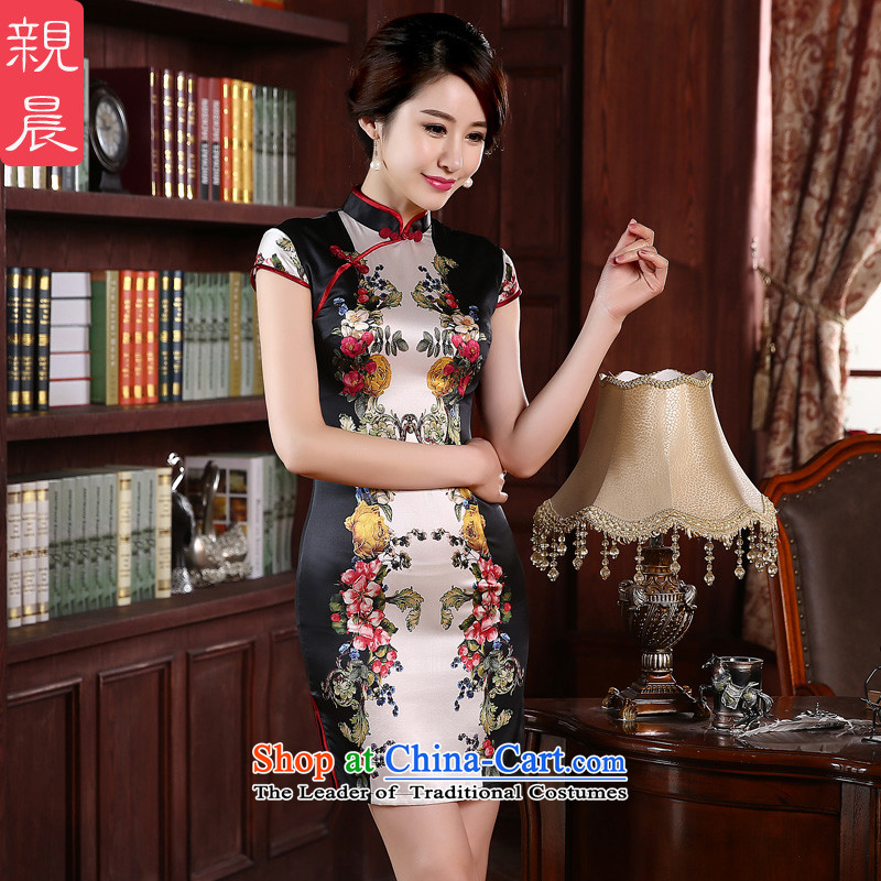 At 2015 new pro-autumn day-to-day summer short of herbs extract retro highstreet silk cheongsam dress improved short M