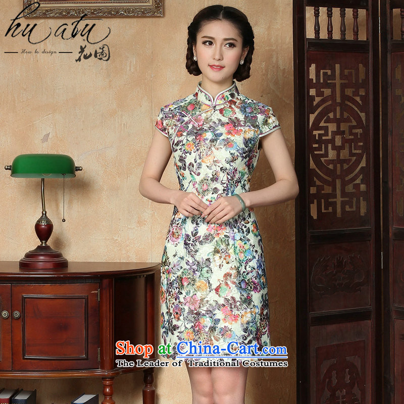 It new summer cheongsam dress Chinese improved lace Short-Sleeve Mock-Neck ramp up short cheongsam dress suit Figure�L color