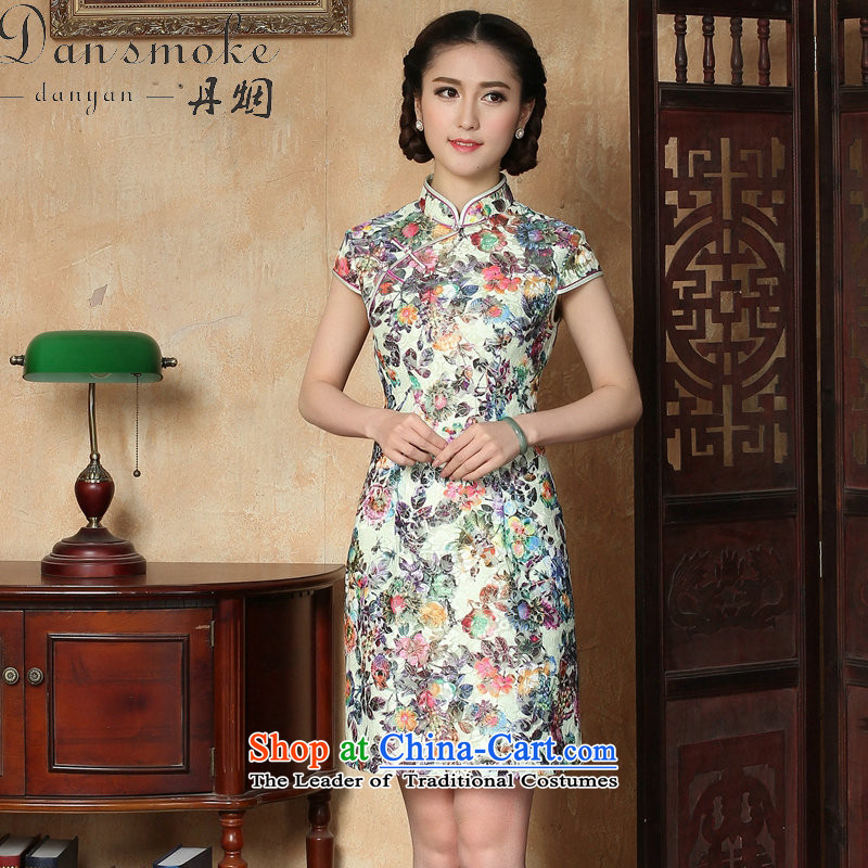 Dan smoke qipao new summer female Chinese improved lace Short-Sleeve Mock-Neck ramp up short cheongsam dress suit Figure Color燲L