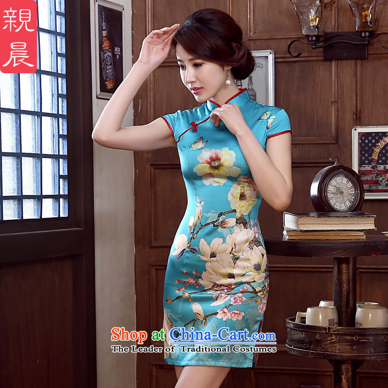 The pro-am daily autumn 2015 new summer herbs extract upscale retro improved Silk Cheongsam Dress Short of stylish short,聽XL