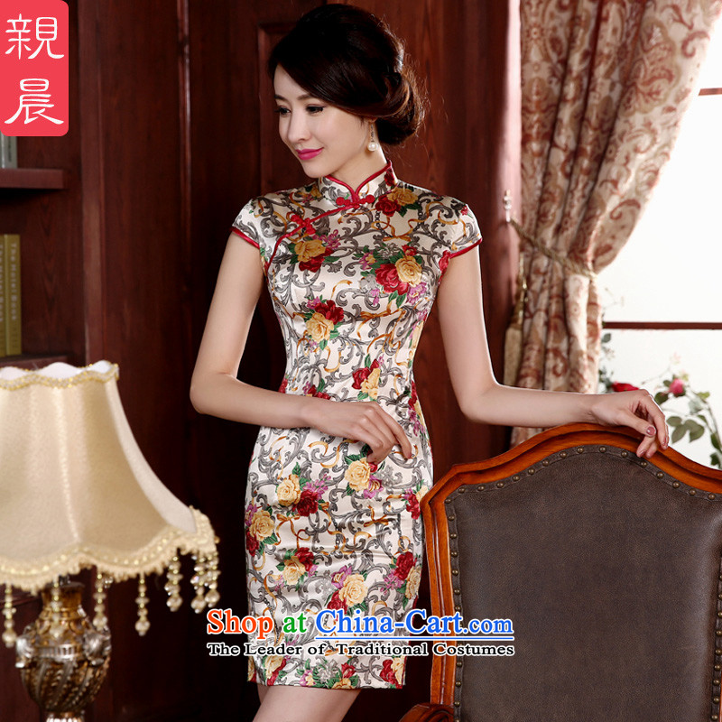 ? pro-am- 2015 new summer Korean autumn day-to-dos Santos silk stylish improved short, Retro Silk Cheongsam short)�S