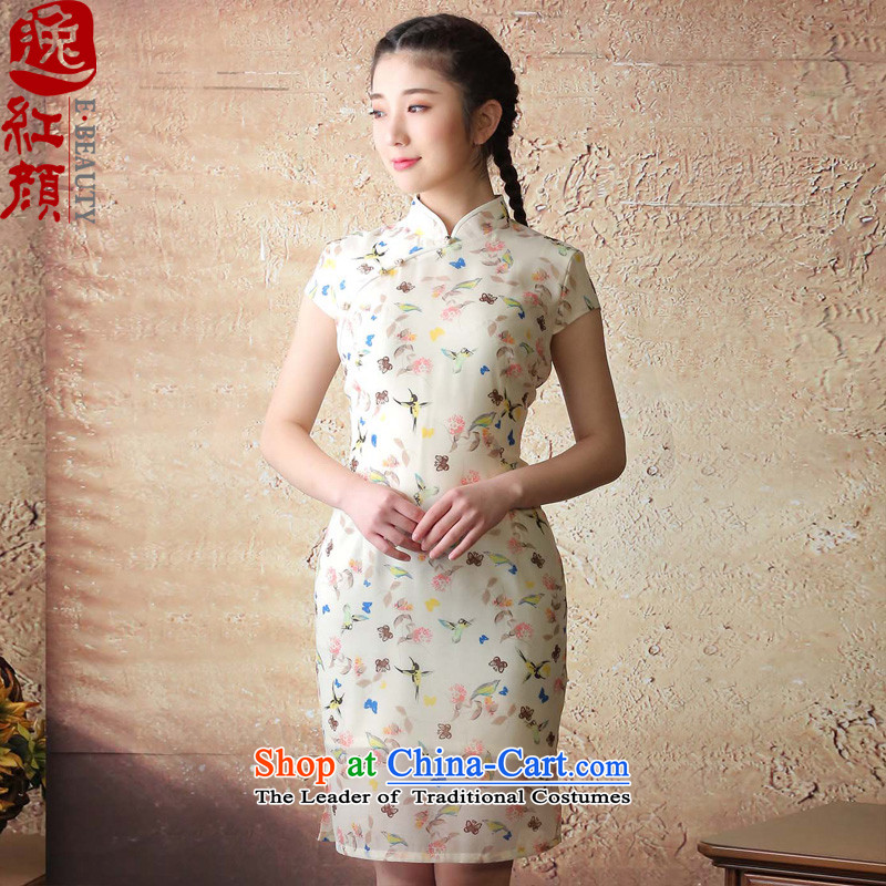 The elections as soon as possible if the Japan-hong Yat lady retro improved cheongsam dress�2015 Summer trendy new of daily girls dresses light yellow�M
